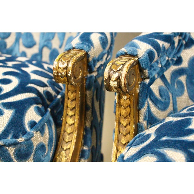 Turquoise Antique French Giltwood Bergere Chairs, Pair For Sale - Image 8 of 10