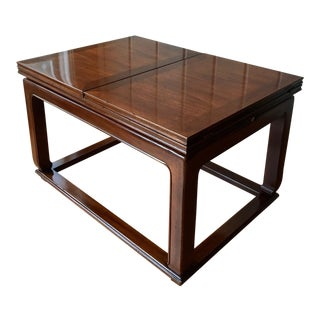 Asian Inspired Henredon Mahogany Folding Leaf Coffee Table For Sale