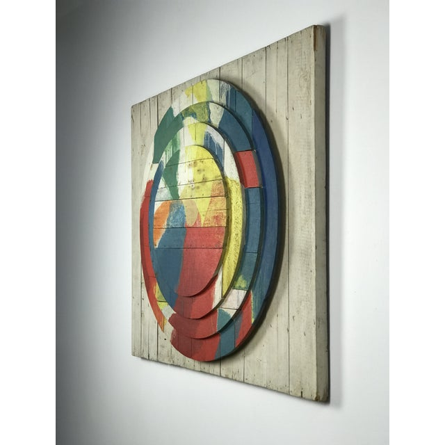 "Abstract Large Modernist Abstract Relief ""Sun lI"" Jef Diederen 1965 Acrylic on Wood For Sale - Image 3 of 13"