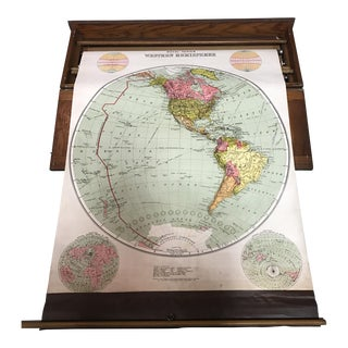 Antique Nystrom Pull Down Maps in Case - Set of 4