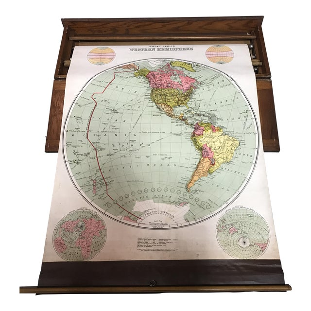 Antique Nystrom Pull Down Maps in Case - Set of 4 For Sale