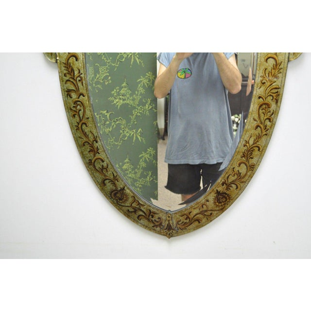 "47"" X 29"" Decorator Contemporary Venetian Style Gold Etched Shield Wall Mirror For Sale In Philadelphia - Image 6 of 11"
