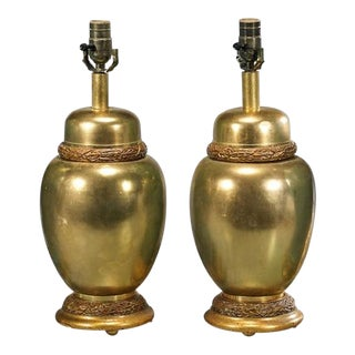 Designer Gilt-Metal Urn Form Lamps - A Pair
