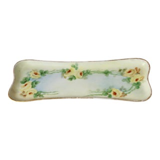 Antique Hand-Painted Porcelain Yellow Rose Trinket Tray For Sale