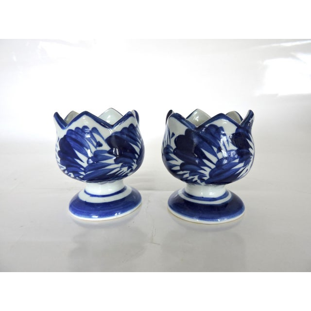 Blue & White Asian Pottery Candle Holders - A Pair For Sale In Tampa - Image 6 of 6