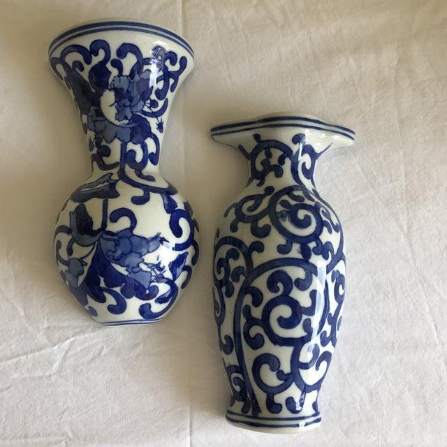 Asian Blue White Ceramic Wall Vases A Pair Chairish