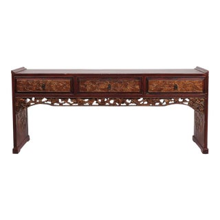 Early Century Chinese Parcel Gilt an Carved Low Table For Sale