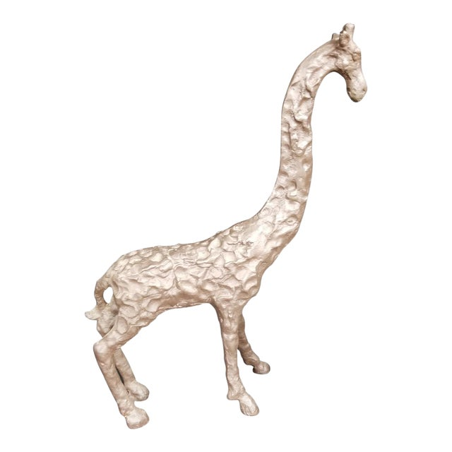 Textured Iron Giraffe Statue For Sale