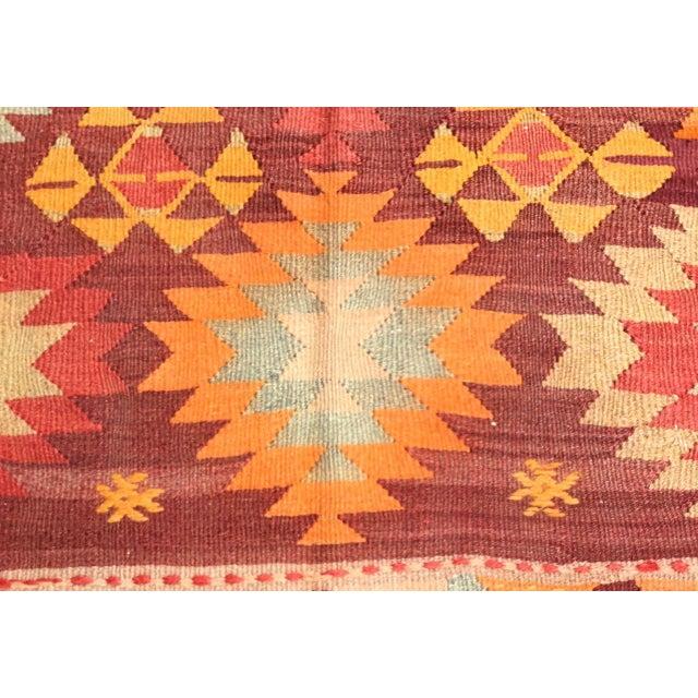 Textile Burnt Orange Vintage Turkish Kilim Rug For Sale - Image 7 of 11
