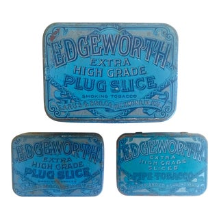 Vintage Early 1900's Lithograph Print Edgeworth Tobacco Tin Metal Boxes - Set of 3 For Sale