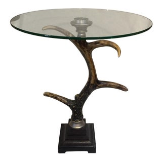 Large Antler Glass Top Table For Sale