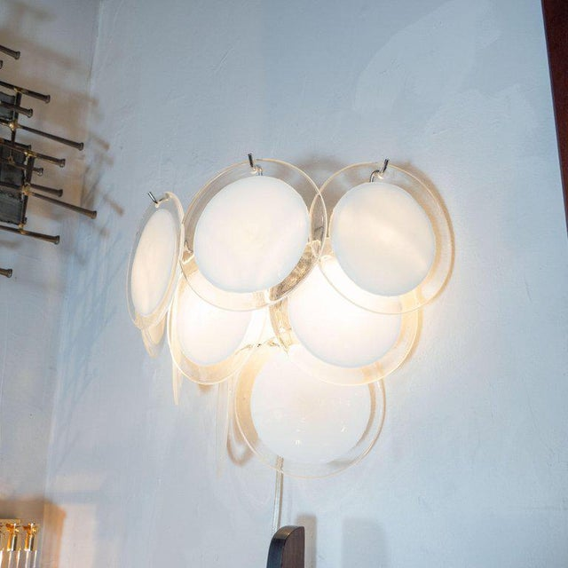 Early 21st Century Modernist 9-Disc Hand Blown Murano White and Translucent Glass Sconces - a Pair For Sale - Image 5 of 6