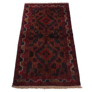 Vintage Mid-Century Hand-Knotted Afghani Turkoman Rug - 3′4″ × 6′7″ For Sale