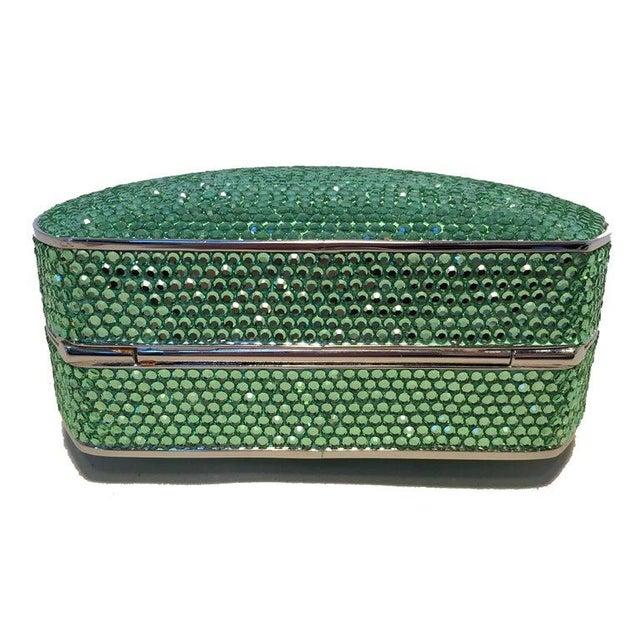 Judith Leiber Green Swarovski Crystal Minaudiere Evening Bag in excellent condition. Green swarovksi crystal exterior...