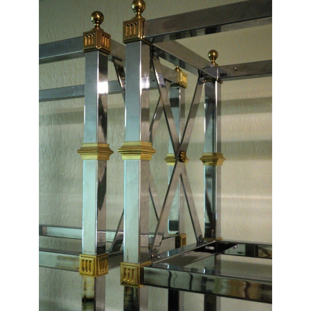 Jansen Style Neoclassical Chrome Etageres - Pair - Image 6 of 7