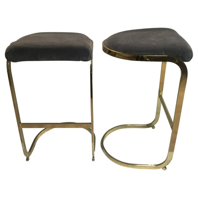 Vintage Brass & Gray Velvet Bar Stools - a Pair For Sale