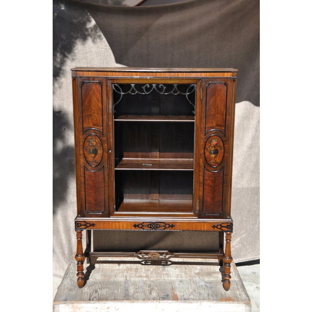 Berkey & Gay Hand Painted Victorian Mahogany China Display Cabinet For Sale In Los Angeles - Image 6 of 13