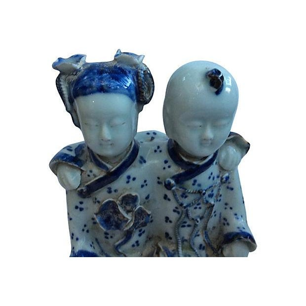 Chinese Blue & White Best Friends Figurine - Image 2 of 5