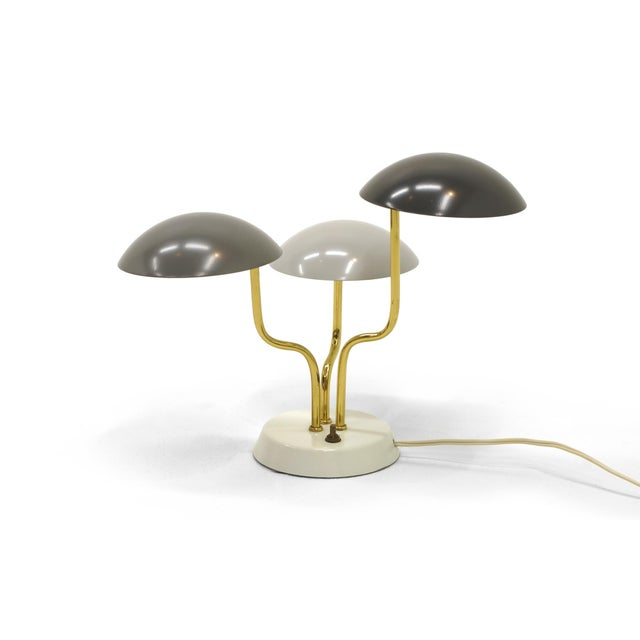 Mid-Century Modern Gino Sarfatti for Arteluce Three Shade Table Lamp in Monochromatic Gray & Brass For Sale - Image 3 of 6