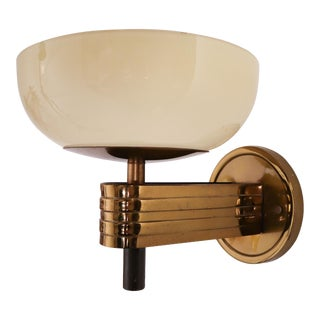 1930 Art-Deco Sconces With Opaline Glass and Brass Manufactured in Germany For Sale