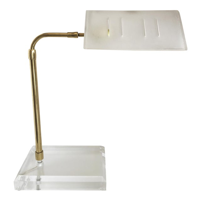 Bauer Lucite & Brass Desk Lamp - Image 1 of 9