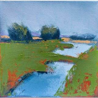 "Carrie Megan ""Marsh Pool"" Abstract Landscape Oil Painting For Sale"