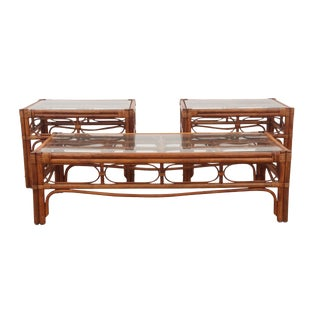 1970s Mid Century Modern Bamboo Bentwood Tables - Set of 3 For Sale