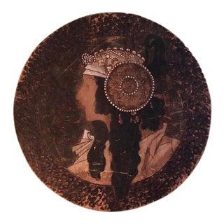 "Antique Alphonse Mucha ""The Brunette"" Byzantine Head Plaque For Sale"