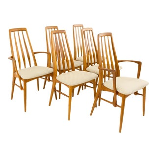 Vintage Mid Century Niels Koefoed Hornslet Danish Teak Eva Dining Chairs - Set of 6 For Sale