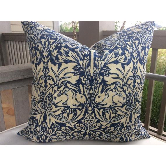 "From venerable English Textile House, William Morris, ""Brer Rabbit"" is a heavy weight linen in indigo and off white...."