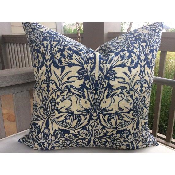 "William Morris ""Brer Rabbit"" in Indigo & Off-White Pillows - a Pair - Image 2 of 6"