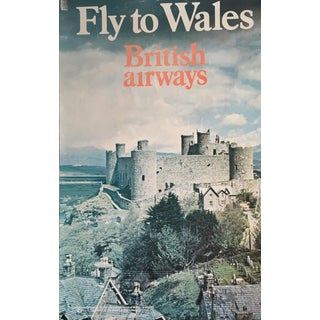 1960s Vintage Fly to Wales Travel Poster For Sale