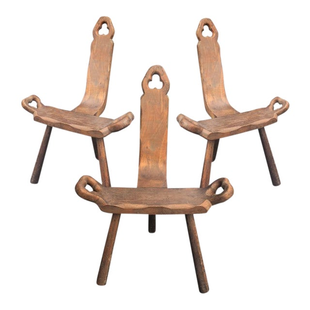 Antique Spanish Carved Wood Birthing Chairs - Set of 3 - Antique Spanish Carved Wood Birthing Chairs - Set Of 3 Chairish