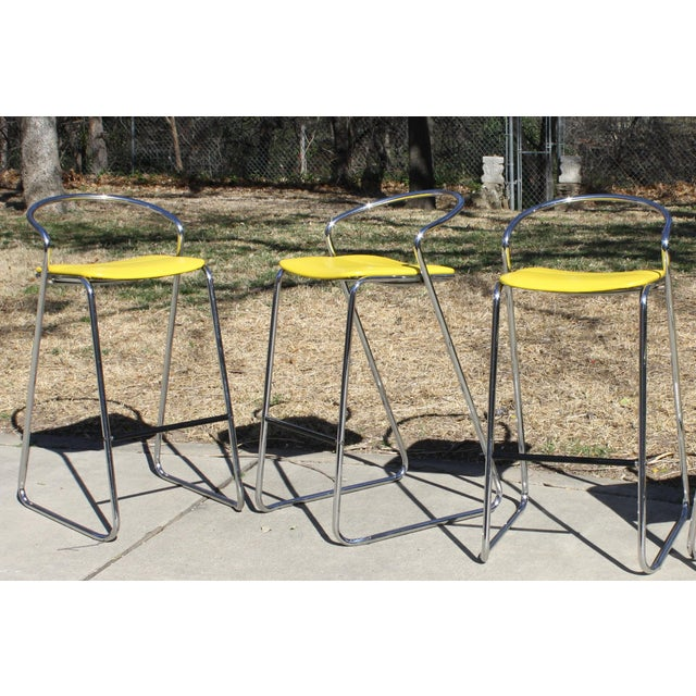 Italian Bar Stools in Polished Chrome by Hank Loewenstein - Set of 3 For Sale - Image 9 of 9