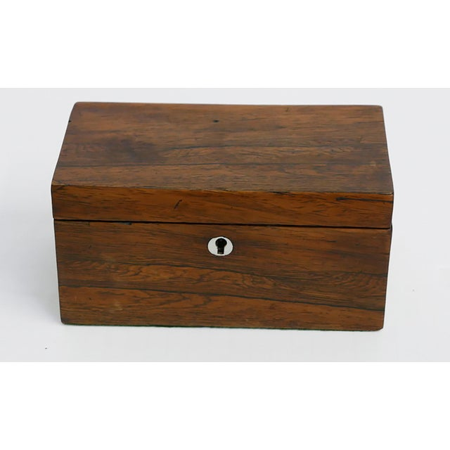 Antique English Tea Caddy This handsome antique tea caddy has two-compartments with lift-off lids. Ivory key slot - no key...