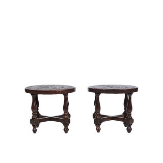 Leather Mid-Century Incan Motif Stools - A Pair