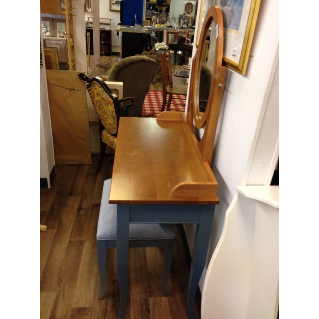 Ethan Allen Country Blue Vanity With Bench - Image 8 of 8