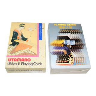 Vintage Japanese Kyoto Geisha Double Boxed Playing Cards - 2 Sets For Sale