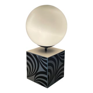 1960's Cast Metal Op Art Lamp With Milk Glass Orb For Sale