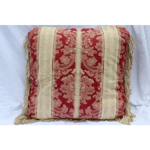 Italian Silk Down Pillow in Dark Red and Cream With Long Silk Rope Fringe For Sale - Image 4 of 4
