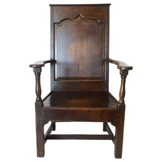 Mid 18th Century Vintage English Georgian Elm Wainscot Chair For Sale