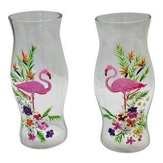 Hand Painted Flamingo Glass Candle Hurricanes - a Pair For Sale