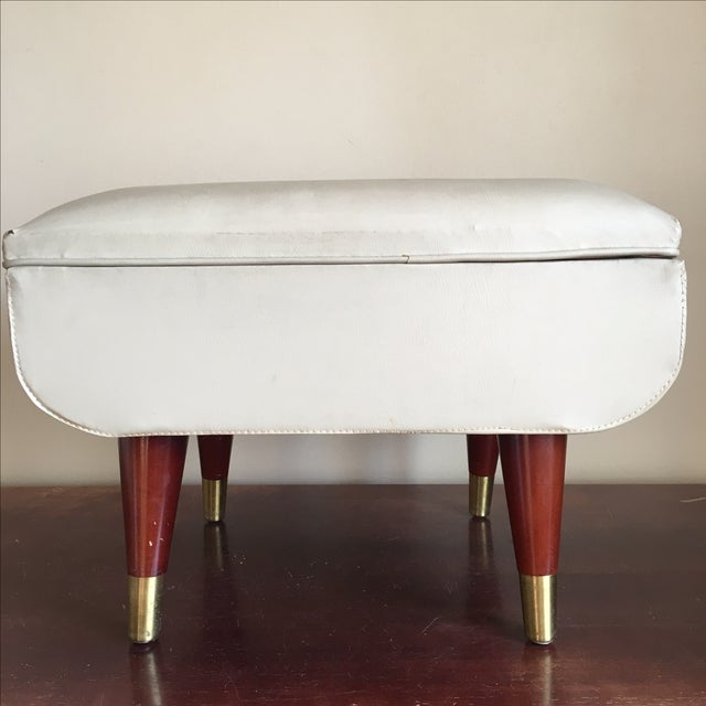 Mid-Century Sewing Stool with Storage - Image 7 of 11