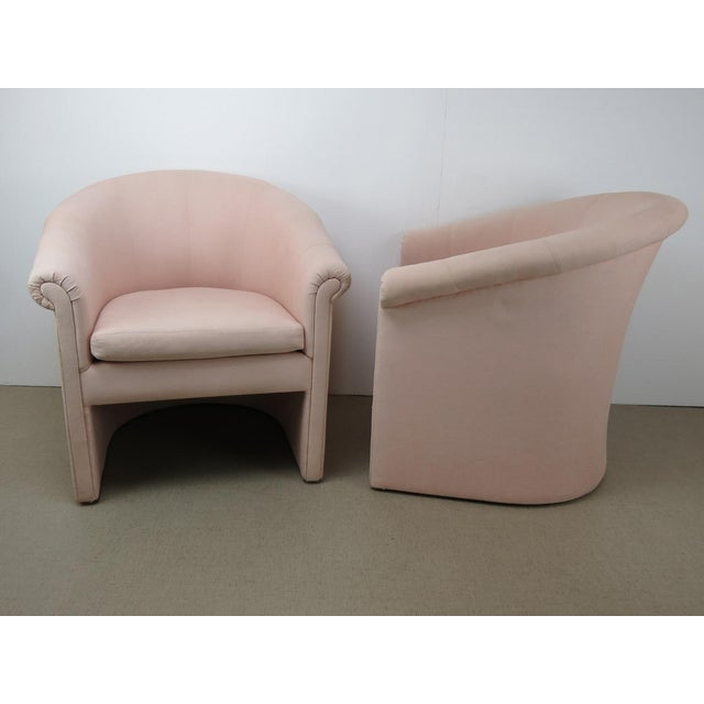 Wood 1960s Milo Baughman Style Muted Rose Pink Barrel Back Tub Chairs - a Pair For Sale - Image 7 of 13