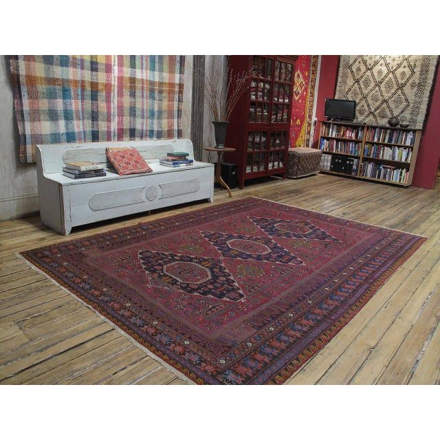 """A great old tribal flat-weave from the Caucasus, woven in the intricate """"Sumak"""" brocading technique. Combining a tribal..."""