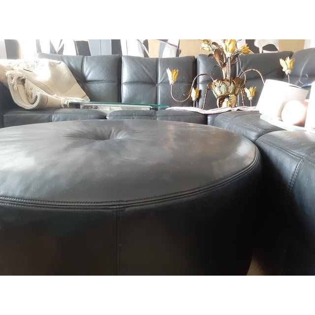 Contemporary Final.Markdown Black Triple Box Stitch Leather Ralph Lauren Style Round Bench/Coffee Table For Sale - Image 3 of 11