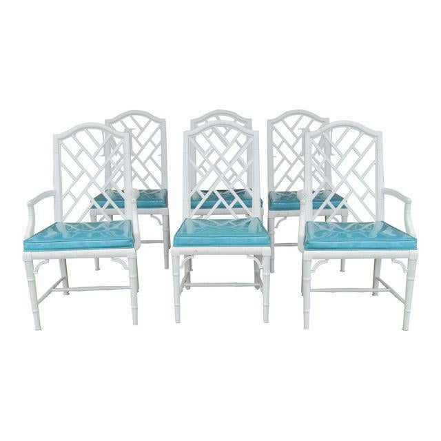 1970s 1970s Chinese Century Furniture Faux Bamboo Lattice Back Dining Chairs - Set of 6 For Sale - Image 5 of 5