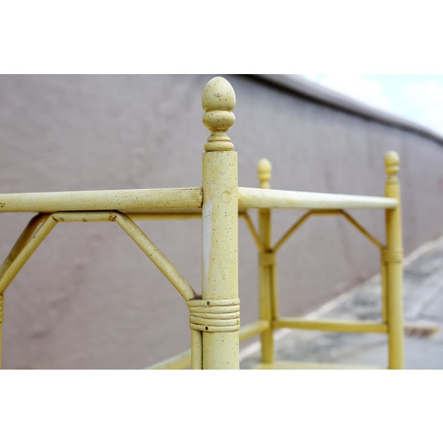 Wood Vintage Yellow Rattan Etagere - Heavy For Sale - Image 7 of 12
