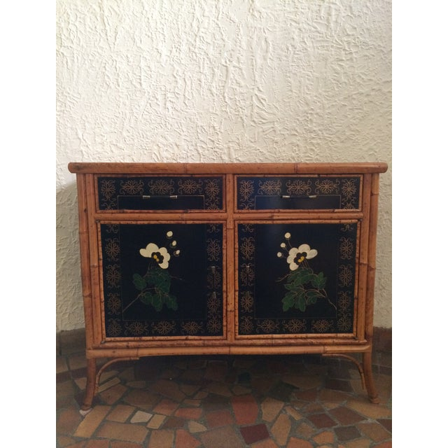 Vintage 1960s Painted Bamboo Cabinet For Sale - Image 9 of 9