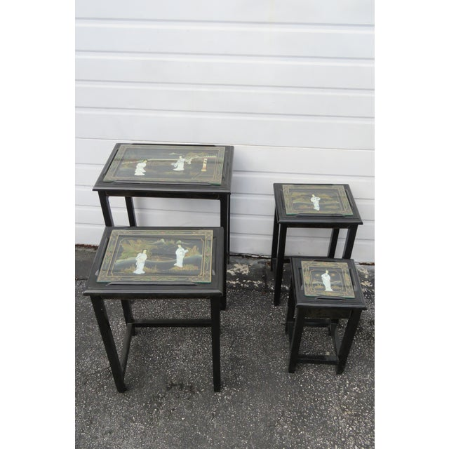 Late 20th Century Oriental Black Painted Nesting Tables Set of Four For Sale - Image 5 of 13